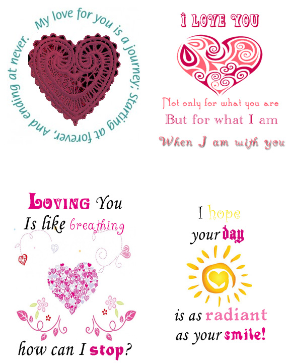 4 romantic quote notes love valentine