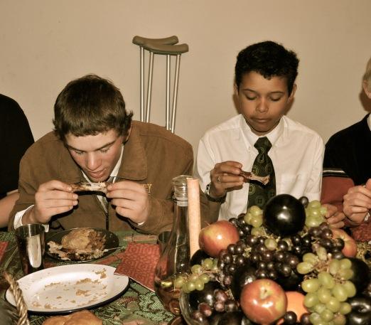 New 'knights' enjoying their celebration Medieval feast